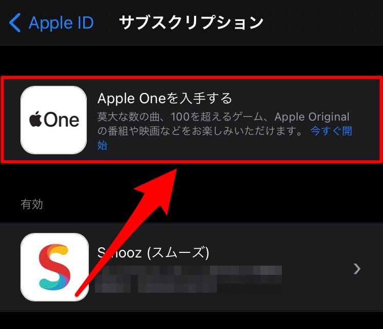 Apple Oneを入手するをタップ